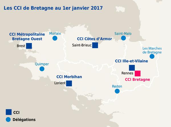 Carte réseau des CCI de Bretagne au 1er janvier 2017